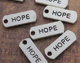 10 HOPE Charms HOPE Pendants Antiqued Silver Tone  8 x 21 mm