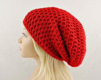 Red Slouchy Beanie, Womens Crochet Slouchy Hat, Slouchy Winter Hat, Red Crochet Beanie, Red Crochet Hat, Extra Slouchy Beanie