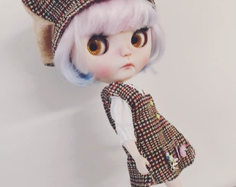 LeLe Queen —Brown lattice design clothes suit.Blythe doll size.