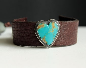 Heart leather, turquoise and sterling silver adjustable bracelet