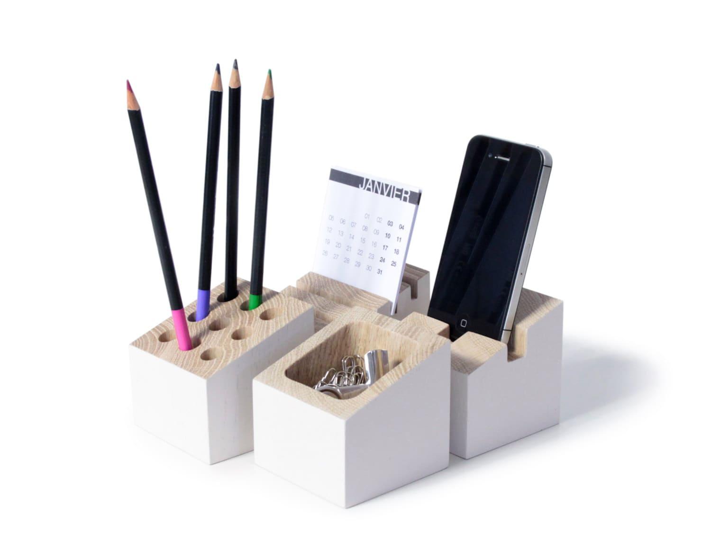 organiseur bureau bois ch ne neige blanche porte carte. Black Bedroom Furniture Sets. Home Design Ideas