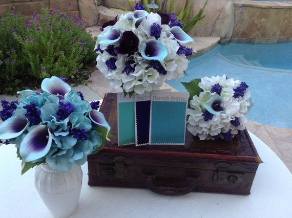 15 Piece Wedding Flower Package In Aqua And Purple