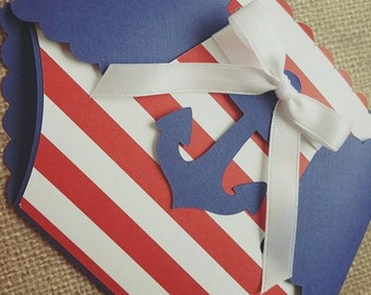 36x Nautical Baby Shower Invitations with Envelope