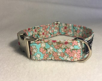 Baby Blue and Pink Flowers Dog Collar