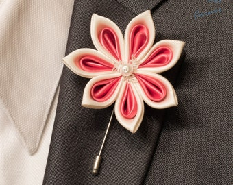 Wedding Flower Lapel Pin - Ivory and Punch Kanzashi Inspired Stick Lapel Pin with Pearl