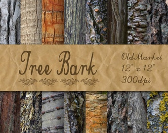 Tree Bark Digital Paper - Wood Textures - Wood Backgrounds - 16 Designs - 12in x 12in - Commercial Use - INSTANT DOWNLOAD