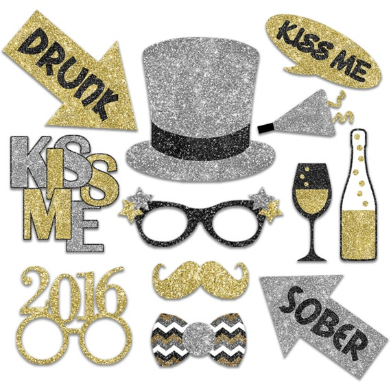 2016 New Years Photo Booth Props - Printable Decorations and Banner ...