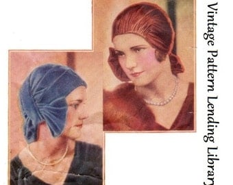 1920s Ladies Turban/Cloche With Bow - Reproduction Sewing Pattern #H1756