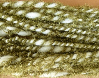 Handspun White Wool with Olive
