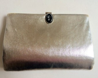 VINTAGE HL USA silver evening bag with cameo and attached coin purse 1950's