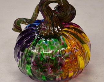 Rainbow Blown Glass Pumpkin