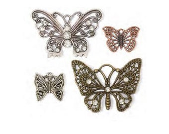 CLEARANCE Butterfly Jewelry Charms Set - Silver, Copper & Gold Butterflies - 20 - 46mm
