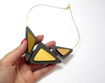 golden laminated and hard-coal polypropylene, HG Collection, Statement Necklace Handmade, to offer, gift, asymmetrical, si atelier, minimal