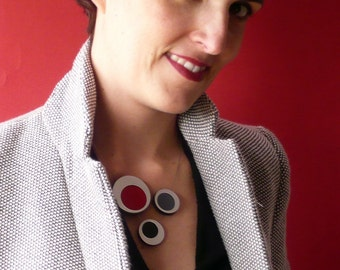 Contemporary Jewelry Circle Statement Necklace Handmade in silver, black and red, spring gift, sophisticated gift