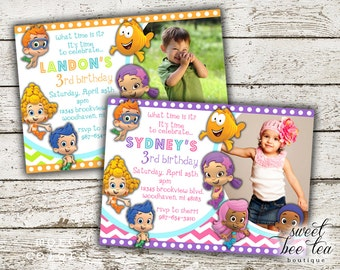 Boys or Girls Bubble Guppies Birthday Party Invitation - Any Age - Photo Invite - Baby First 1st Birthday One - Chalkboard - Guppy