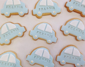 children's party biscuits, christening gift, car biscuits, party bag treats, car cookies, children's party, boy party biscuits, baptism gift