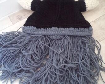 Celtic helmet design hat knitted woolly hat NEW viking larp with beard