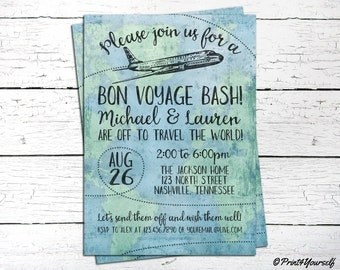 Bon Voyage Invite // Personalized Printable Bon Voyage Farewell Party Invitation // Farewell Invite // Bon Voyage Bash // Travel Invite