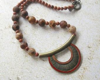 Gemstone Beaded Necklace, Womans Necklace, Gemstone Jewelry, Tribal Necklace, Dzi Tibetan Agate Beads, Goldstone Beads, Brass Pendant