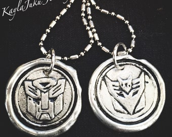 Transformers wax seal necklace