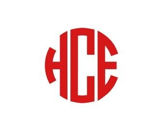 Circle Monogram Decal for phone, laptop, car, 1 inch, 2 inch, 3 inch, 4 inch, 5 inch, 6 inch, 7 inch sizes