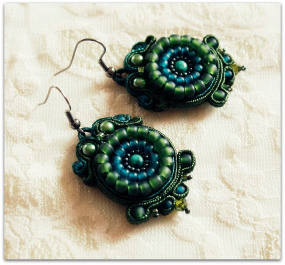 soutache and beaded earrings, HANDICRAFT, one pair of earrings soutache to choose