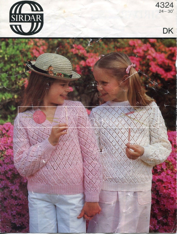 """Girl's Lace Sweaters 24-30"""" DK Sirdar 4324 Knitting Pattern PDF instant download"""