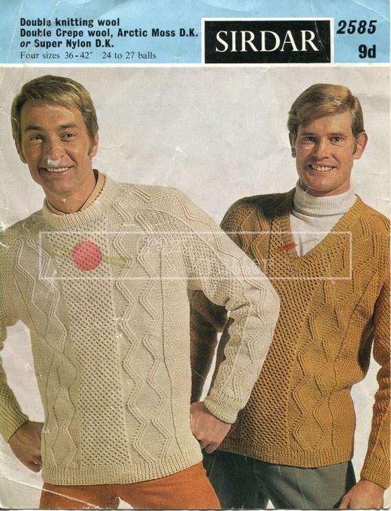 """Men's Aran Sweater 36-42"""" DK Sirdar 2585 Vintage Knitting Pattern PDF instant download"""