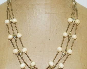 "Vintage Gold Tone Cream Stone 3 Strand 24""  Necklace"