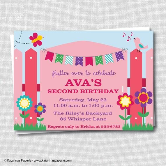 girl garden party invitation spring garden themed birthday. Black Bedroom Furniture Sets. Home Design Ideas