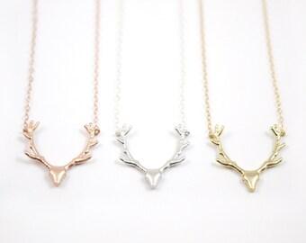 Deer Antler Necklace, Rose Gold, Gold Filled, Sterling Silver Necklace, Gift for Her