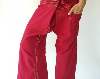 F80045 Handmade Thai Fisherman Pants Wide Leg pants, Wrap pants, Unisex pants