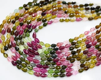 AAA Quality Natural MULTI TOURMALINE Straight drilled faceted tear drop shape\15 inch strand approx, Watermelon Tourmaline Briolettes
