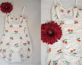 Vintage 1950s Swimsuit - 50s White Embroidered Strawberry Bathing Suit Playsuit by Jantzen