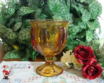 Amber Glass Compote - Vase - Goblet - Vintage