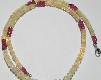 38.93ctw African Opal & 15.38ctw Ruby 14kt White Gold Bead Necklace 17.25 inch