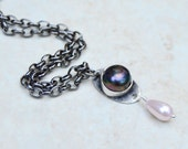 Rustic Pearl Necklace. Charm . Antique Silver Chain . Rustic . Pearl .  by Ninandbumm on Etsy. Jewelry Supplies . Relics