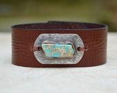 Leather Aqua Jasper Bracelet. Boho. South Western Design. Blue Japer . Turquoise Lover .Bracelet. Boho .