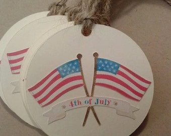 Set of 9 American Flag Tags - 4th of July - July 4th - Party Favor Tags - Gift Exchange Tags - American Flag - Tags
