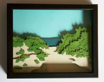 """Original Framed Cut Paper Art """"Lambert's Cove Beach"""""""