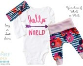 Baby Girl Coming Home Outfit: CHOOSE COMBO Pink Hello, World Bodysuit, Floral Print Shorties Shorts or Legging Pants, Knot Headbad