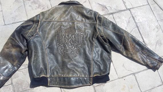 HOLD 4 JL Vintage Harley Davidson brown distressed leather jacket bomber rockabilly biker grunge punk big motorcycle xxx large xx x men gift