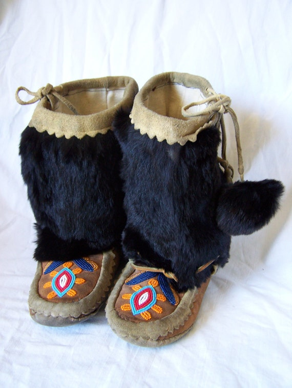 Antique Native American Indian Leather Beaded Moccasin Boots Fur Lined Pom pom hand made mukluks black brown OLD vintage childs decoration