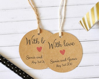 With Love  Personalised Wedding Favor Tag, Wedding Gift Tag, Bonbonniere Tag, Round Tag, Pack of 10, 20, 50, 100, 200, 300, Kraft Gift Tag