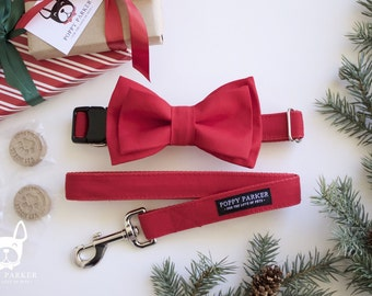 Layered Dog Bow Tie - Red - Optional Matching Collar and Leash