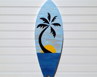 Hand Painted Blue Skies Tropical Sunset Wood Surfboard Sign, Wall Art, Beach Sign, Surf Decor, Beach House, Coastal Cottage Chic