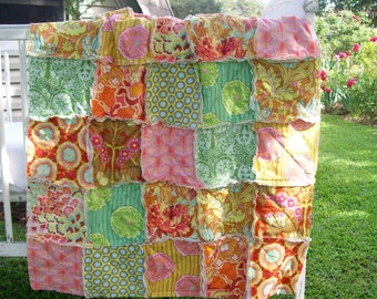 Crib Rag Quilt, Pink Aqua Mint Green Coral  Shabby Green Orange Crib Bedding Yellow Tan Baby Girl Bohemian Baby Quilt