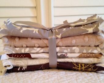 Rag Quilt Style Burp Cloths, Woodland Gray Brown Tan Baby ONE Set of Two Minky Elk Deer Fox Baby Shower Gifts Nursery
