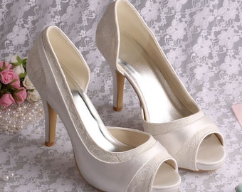 Custom handmade ivory Lace Bridal wedding satin Peeptoe dorsay platform high heels - 20 colours!