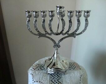 Hanukiah Plated Jewish Lamp Menorah for Hanukkah Oil-Cup/Candles NEW